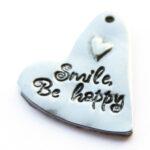 Metalen hart, Be Happy, 25x36mm, 3 st