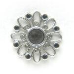 Bloemvormig metalen basis ornament 1, 26mm, 10 st