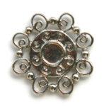 Bloemvormig metalen basis ornament 2, 27mm, 10 st