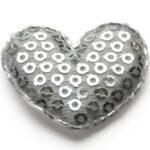 Hartje, stof met opgenaaide pailletten, 33x30mm, Zilver, 25 st