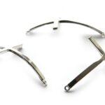 Gebogen kruisornament voor armband, 45x30mm, Metaal, 3 st
