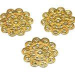 Bloem, rond filigraan ornament, 19mm, Goud, 50 st