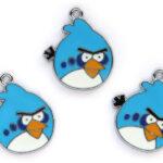 Angry bird, metalen hanger, 21x25mm, Blauw, 5 st