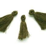 Kwastje, 10x30mm, Donker olijfgroen, 10 st