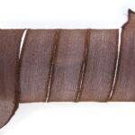 Handgeverfd zijden armbandlint, 2,5x85cm, Donkerbruin, 1 st
