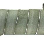 Handgeverfd zijden armbandlint, 2,5x85cm, Donker Olijfgroen, 1 s