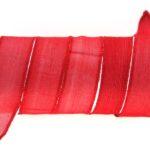 Handgeverfd zijden armbandlint, 2,5x85cm, Rood, 1 st