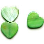 Hartvormige platte parelmoerkraal, glanslaag, 20mm, Groen, 21 st