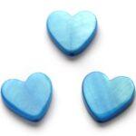 Hartvormige platte parelmoerkraal, 15mm, Blauw, 25 st