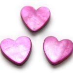 Hartvormige platte parelmoerkraal, 15mm, Fuchsia, 25 st