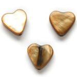 Hartvormige platte parelmoerkraal, 10mm, Bruin, 20 st