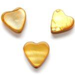 Hartvormige platte parelmoerkraal, 10mm, Oker, 20 st