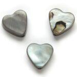 Hartvormige platte parelmoerkraal, 10mm, Grijs, 20 st
