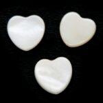 Hartvormige platte parelmoerkraal, 10mm, Wit, 20 st