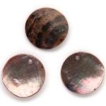 Ronde parelmoer hanger, 20mm, Bruin roze, 25 st