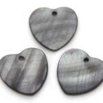 Hartvormige parelmoer hanger, 24mm, Grijs, 10 st