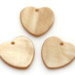 Hartvormige parelmoer hanger, 24mm, Bruin, 10 st