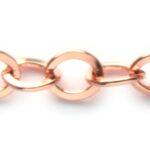 Jasseron, platte ovalen schakel,  7mm, Rose gold, 1 meter
