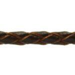 Leer koord, gevlochten, 3 mm dik, Bruin, 1 m