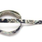 Plat leer voor armband, 9mm x 38cm, Blauw paisley, 1 st
