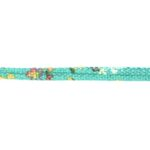 Aztec koord, 7x5mm, Turquoise/bloem, 1 m