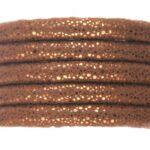 Gestikt koord, metallic effect, 6x7mm, Koper, 1 m
