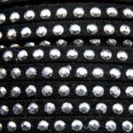 Imitatie suede leer met strass, 3x2mm, Zwart, 2 m