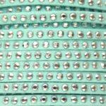 Imitatie suede leer met strass, 3x2mm, Pastel turquoise, 2 m