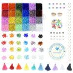 Mega Kralen box – Regenboog 24 kleuren – 3mm Rocailles – 6.500 kralen + veel extra artikelen