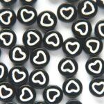 Letterkraal, Hartjes, open, Plat rond, Acryl, Zwart/Wit, 7×3,5mm, 50 st