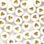 Letterkraal, Hartjes, dicht, Plat rond, Acryl, Wit/Goud, 7×3,7mm, 50 st
