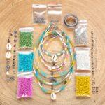 Zelf sieraden maken kralen pakket – Kettingen en enkelbandjes – 2mm kraal met staaldraad – Groen, turquoise, fuchsia, geel, wit, zilver