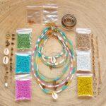 Zelf sieraden maken kralen pakket – Kettingen en enkelbandjes – 2mm kraal met staaldraad – Groen, turquoise, fuchsia, geel, wit, goud