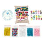 Zelf sieraden maken kralen pakket – Armbandjes en enkelbandjes – Fruit en hartjes figuurkralen – 4mm rocailles – Geel, roze, turquoise, wit, Ibiza mix
